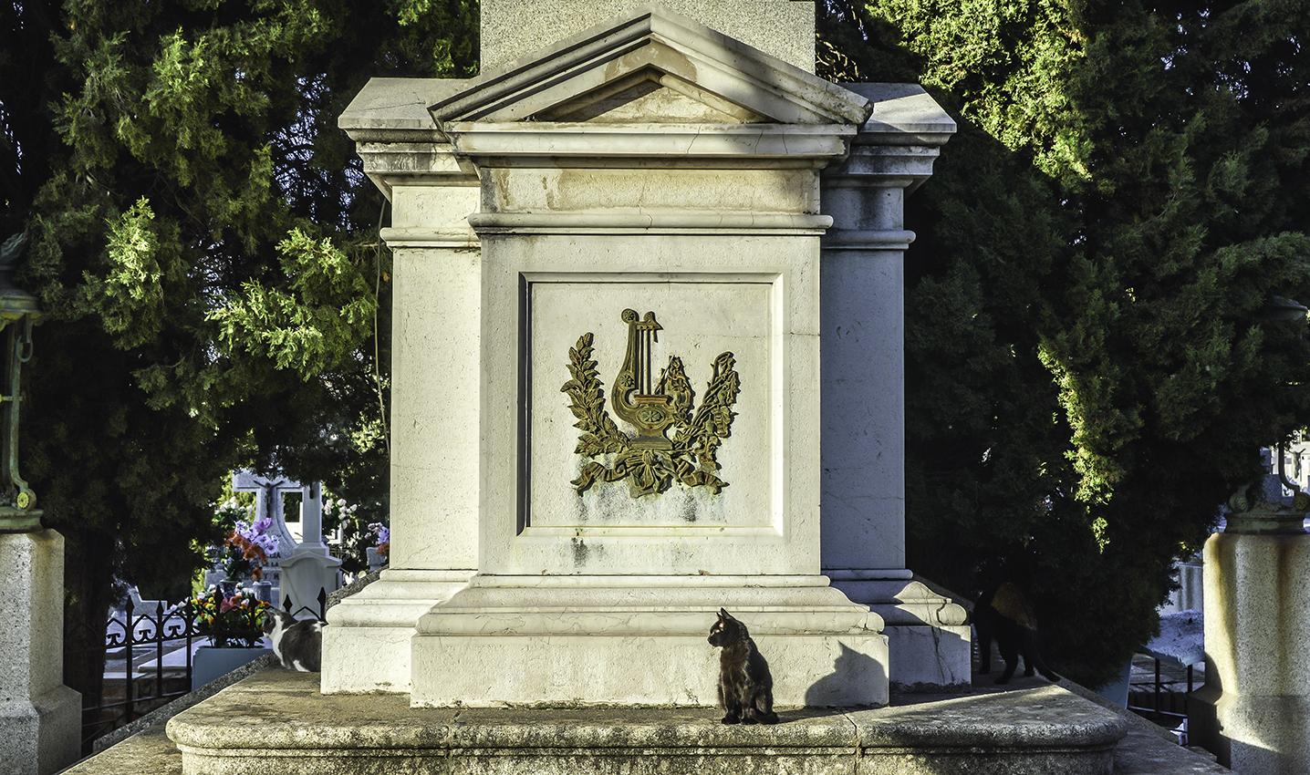 Basa del Mausoleo de Carmen Baños, hija de Gabriel Melitón Baños, en el Cementerio Municipal de Toledo. Fotografía: Jose María Gutiérrez Arias. Sección Vivienda, Consorcio de la Ciudad de Toledo. Año 2018.