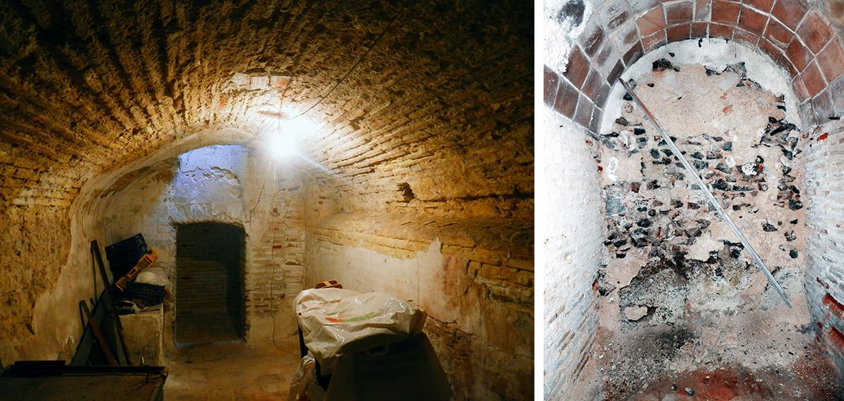 Muro de opus caementicium en el sótano del edificio de la Cuesta de Agustín Moreto nº 8 , en Toledo. Fotografía: Jose María Gutiérrez Arias, Sección Vivienda, Consorcio de Toledo.