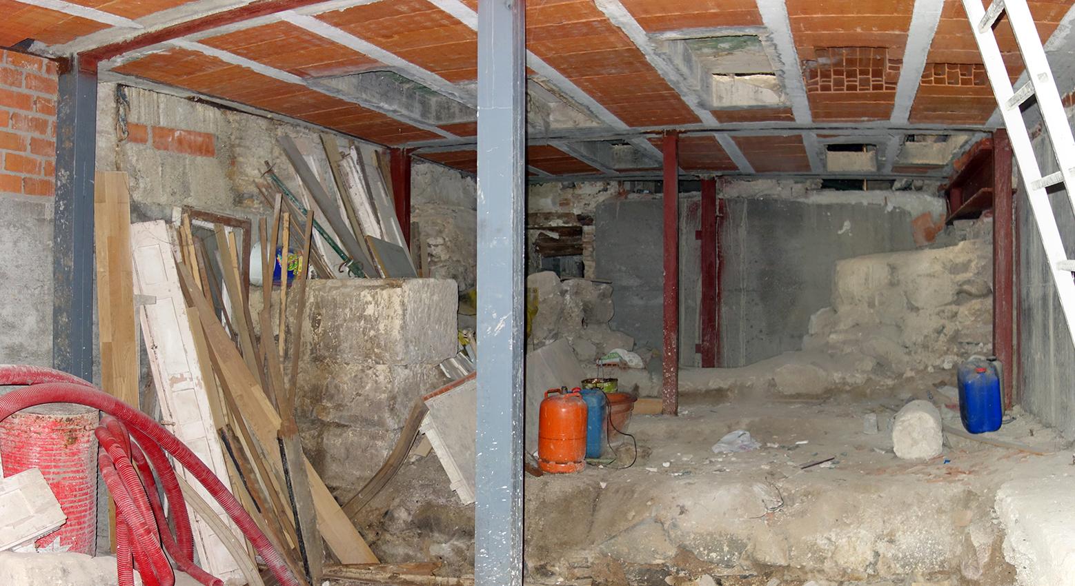 Estructura muraria romana en el edificio de la Calle de la Plata nº 11, en Toledo. Fotografías: Jose María Gutiérrez Arias, Sección Vivienda, Consorcio de Toledo. Año 2019.