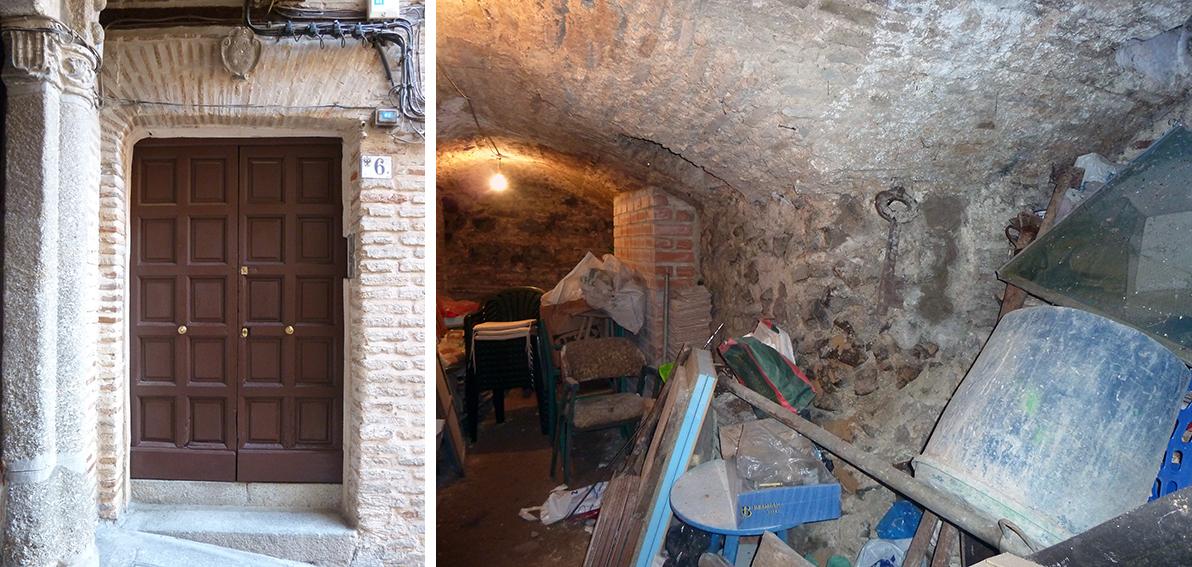 Este sótano del edificio de la Cuesta de Agustín Moreto nº 6 , en Toledo, tiene apoyadas sus bóvedas sobre grandes machones de hormigón romano. Fotografía: Jose María Gutiérrez Arias, Sección Vivienda, Consorcio de Toledo.