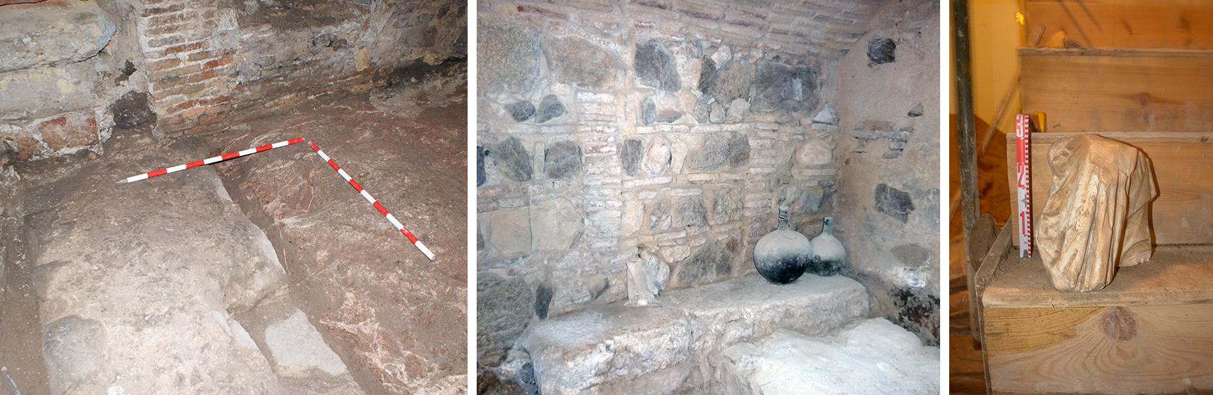 Estructura muraria romana en el edificio de la Calle de la Plata nº 17, en Toledo. Fotografías: Novas Arqueología, S.L.