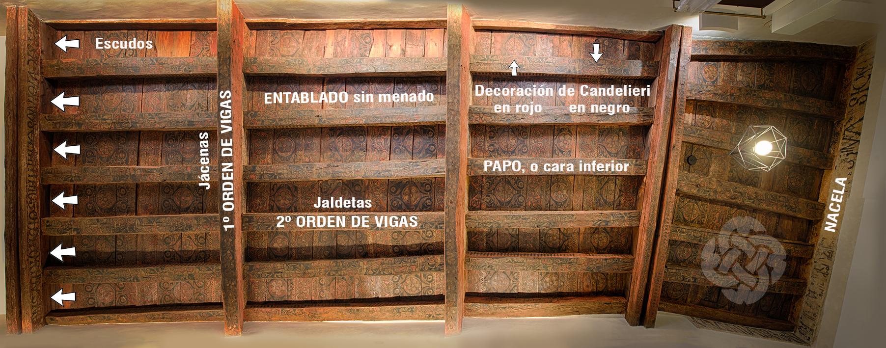 Alfarje policromado Plaza de Buzones nº 8, Toledo. Consorcio de Toledo