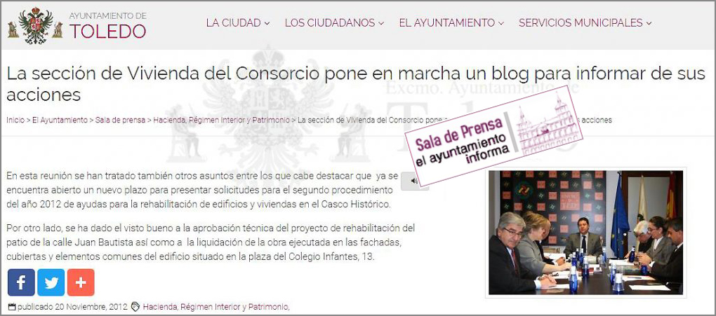 Nota de prensa puesta en marcha del BLOG del Consorcio de Toledo