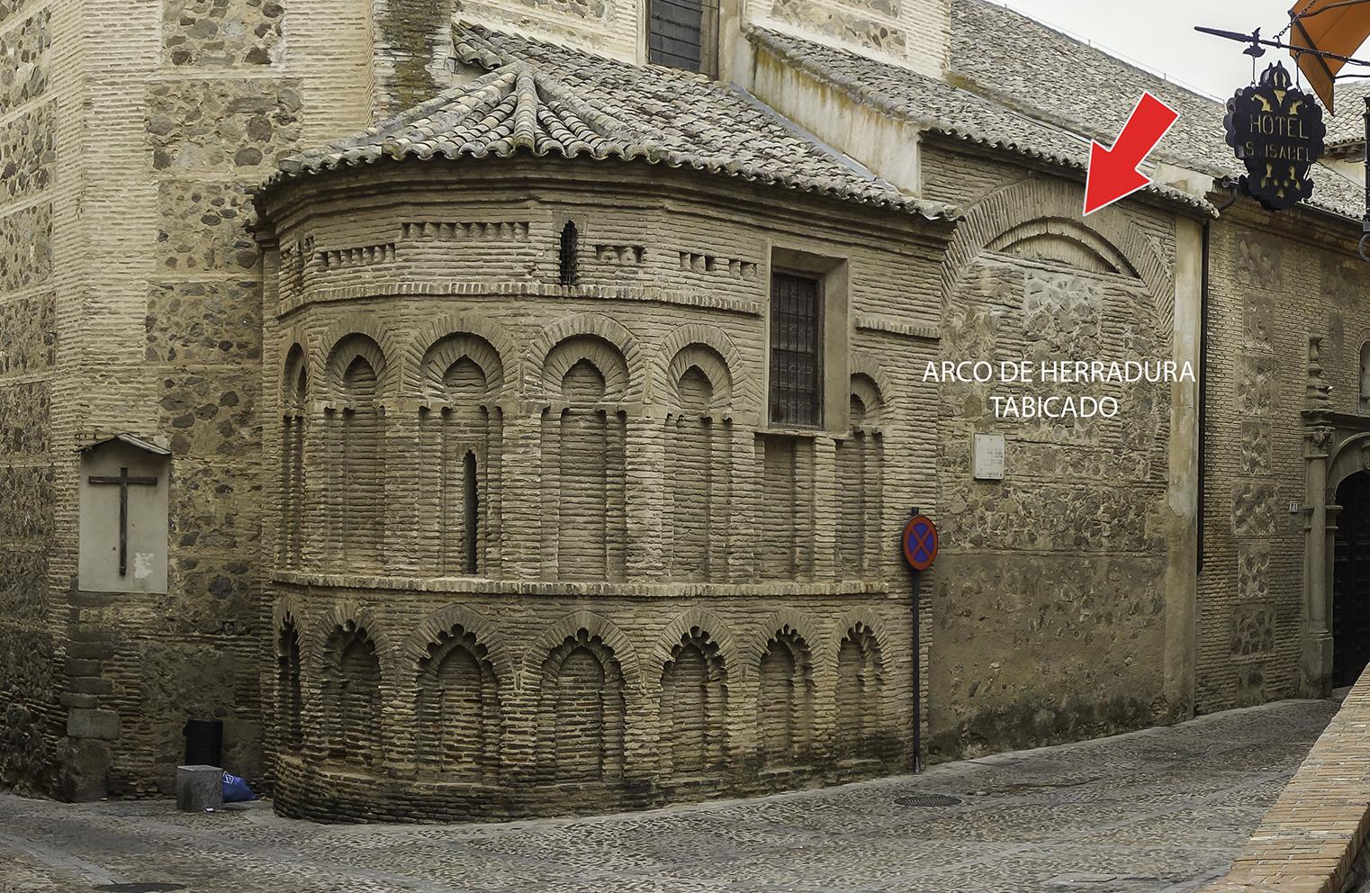 Detalle del arco de herradura tabicado existente en la fachada del Convento de Santa Isabel, en Toledo. Fotografía: Jose María Gutiérrez Arias, Sección Vivienda, Área de Gestión Patrimonial, Consorcio de la Ciudad de Toledo. Año 2019.