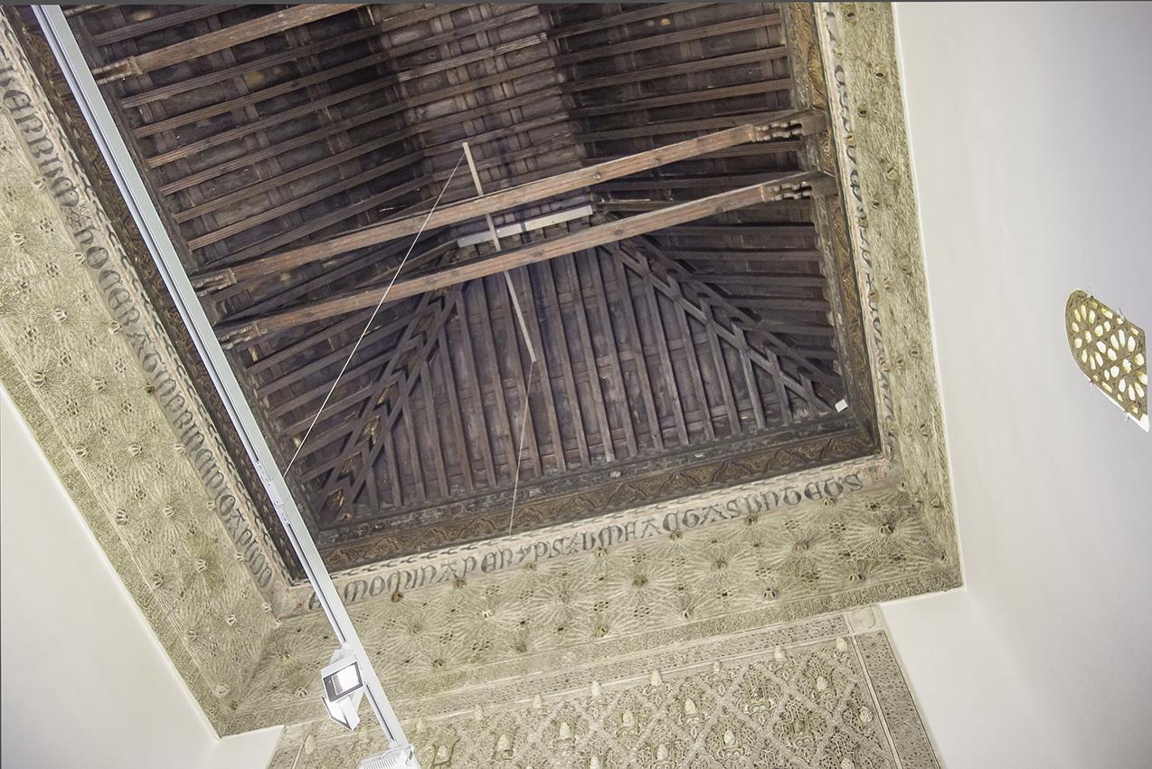 Parte alta del gran salón central del Taller del Moro. Toledo. Fotografía: Jose María Gutiérrez Arias, Sección Vivienda, Consorcio de la Ciudad de Toledo. Año 2018.