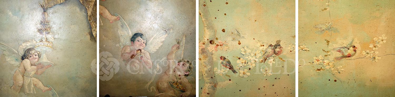 Detalles de la pintura del techo. José Vera, año 1897. Fotografías: Jose María Gutiérrez Arias, Sección Vivienda, Consorcio de la Ciudad de Toledo. Año 2017