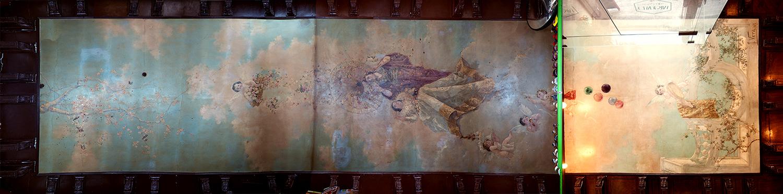 Pintura de José Vera en el techo de la tienda de barrio y el restaurante sito en Calle Tendillas nº 3, Toledo