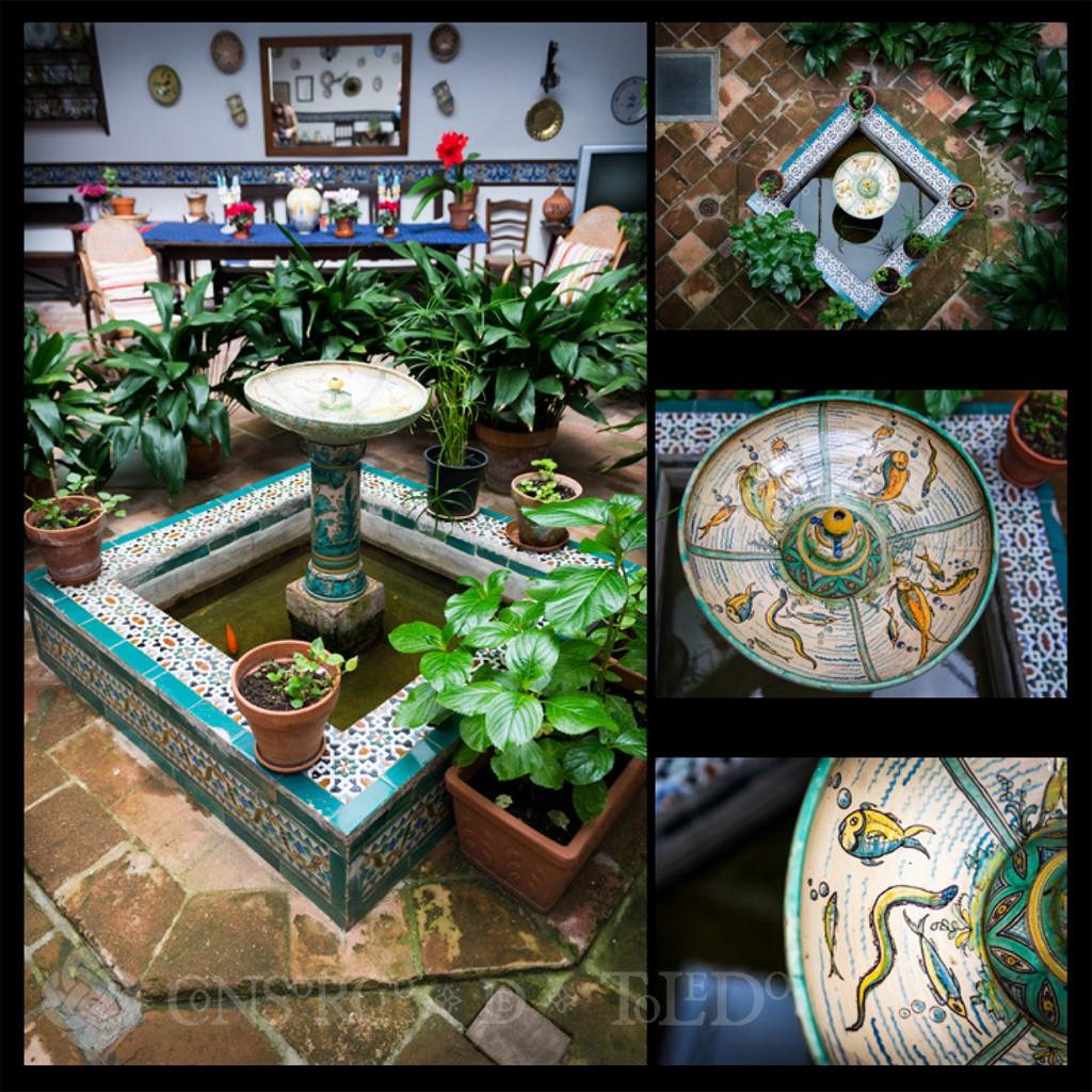 Restauración de la fuente cerámica en el patio de la